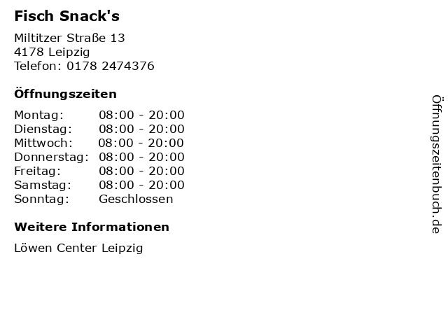 Fisch Snack's in Leipzig: Adresse und Öffnungszeiten