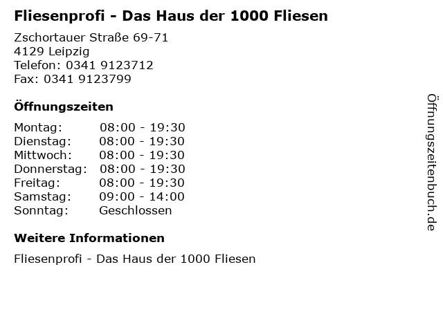 Fliesenprofi - Das Haus der 1000 Fliesen in Leipzig: Adresse und Öffnungszeiten