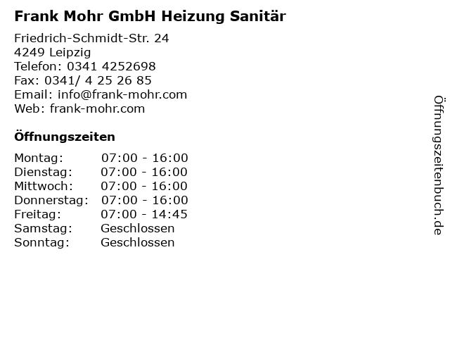 Frank Mohr GmbH Heizung Sanitär in Leipzig: Adresse und Öffnungszeiten