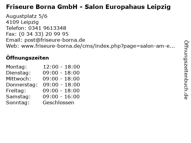 Friseure Borna GmbH - Salon Europahaus Leipzig in Leipzig: Adresse und Öffnungszeiten