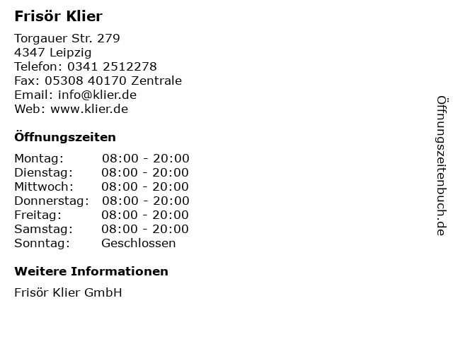 Frisör Klier in Leipzig: Adresse und Öffnungszeiten