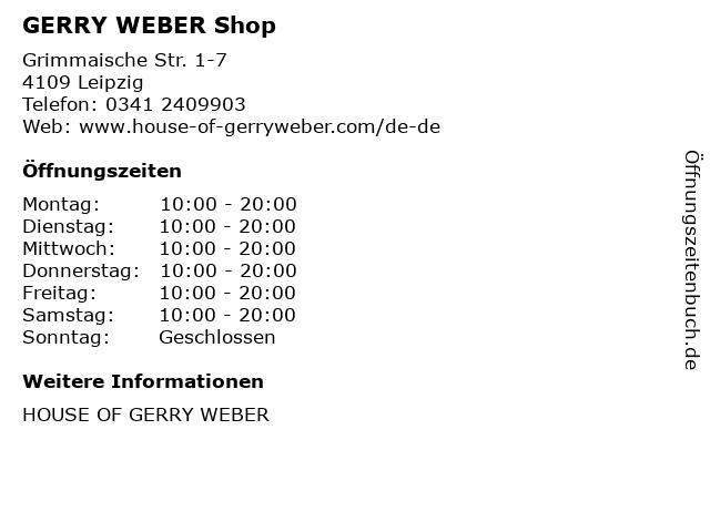 GERRY WEBER Shop in Leipzig: Adresse und Öffnungszeiten