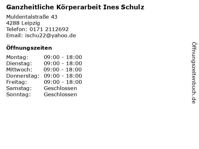 Ganzheitliche Körperarbeit Ines Schulz in Leipzig: Adresse und Öffnungszeiten