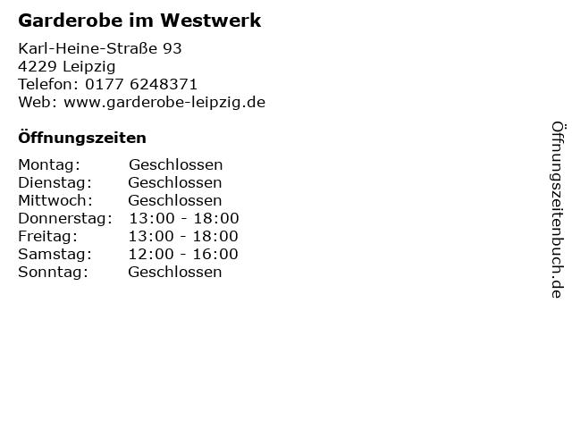 Garderobe im Westwerk in Leipzig: Adresse und Öffnungszeiten