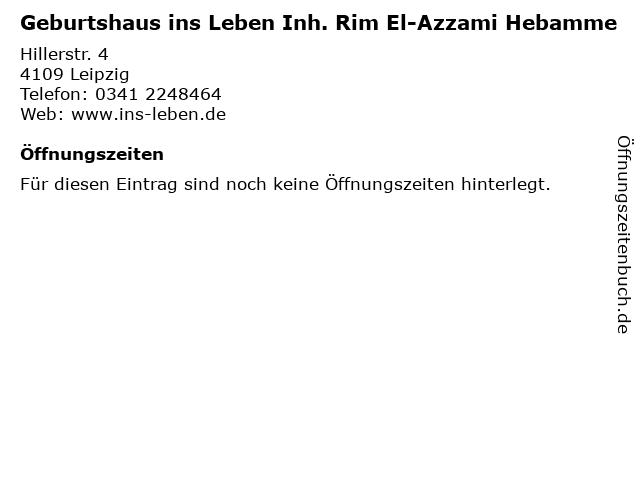 Geburtshaus ins Leben Inh. Rim El-Azzami Hebamme in Leipzig: Adresse und Öffnungszeiten