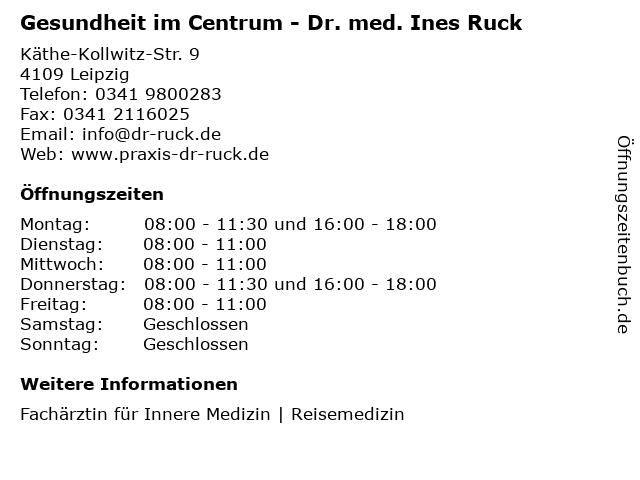 Gesundheit im Centrum - Dr. med. Ines Ruck in Leipzig: Adresse und Öffnungszeiten