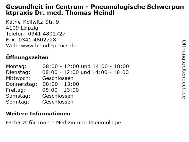 Gesundheit im Centrum - Pneumologische Schwerpunktpraxis Dr. med. Thomas Heindl in Leipzig: Adresse und Öffnungszeiten