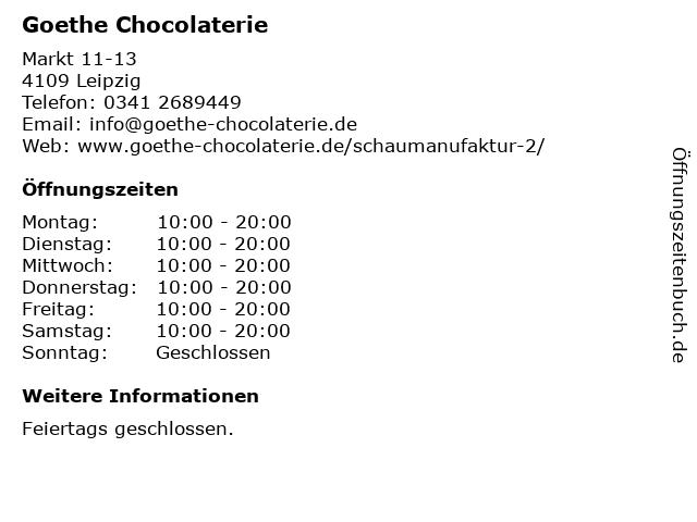 Goethe Chocolaterie in Leipzig: Adresse und Öffnungszeiten