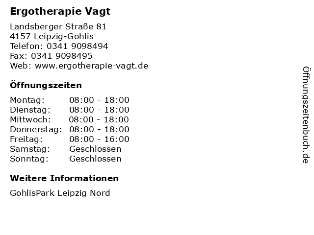 Ergotherapie Vagt in Leipzig-Gohlis: Adresse und Öffnungszeiten