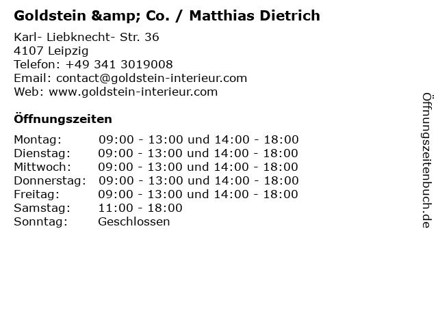 Goldstein & Co. / Matthias Dietrich in Leipzig: Adresse und Öffnungszeiten