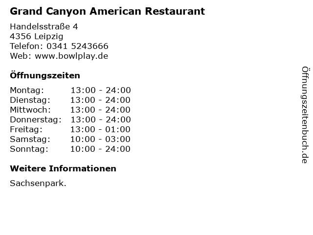 Grand Canyon American Restaurant in Leipzig: Adresse und Öffnungszeiten