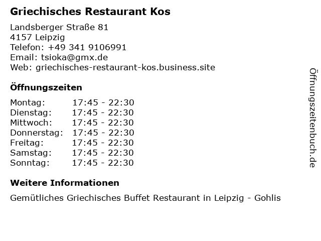 Griechisches Restaurant KOS in Leipzig: Adresse und Öffnungszeiten
