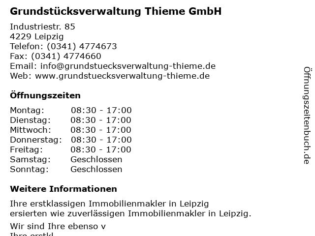 Grundstücksverwaltung Thieme GmbH in Leipzig: Adresse und Öffnungszeiten