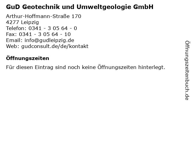 GuD Geotechnik und Umweltgeologie GmbH in Leipzig: Adresse und Öffnungszeiten