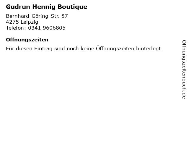Gudrun Hennig Boutique in Leipzig: Adresse und Öffnungszeiten