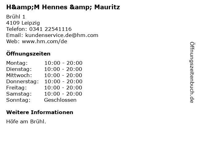 H&M Hennes & Mauritz in Leipzig: Adresse und Öffnungszeiten