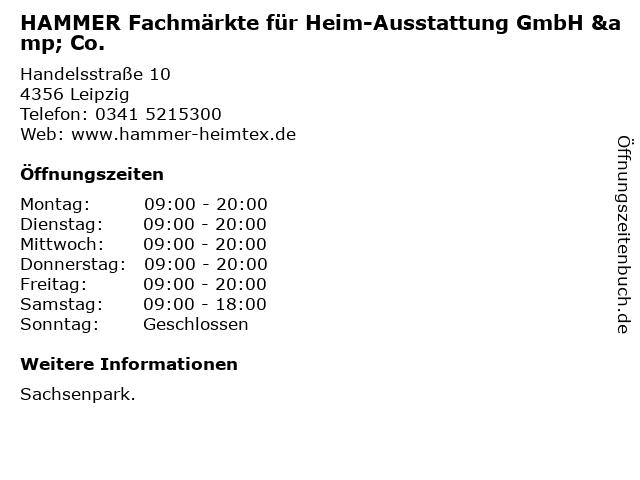 HAMMER Fachmärkte für Heim-Ausstattung GmbH & Co. in Leipzig: Adresse und Öffnungszeiten