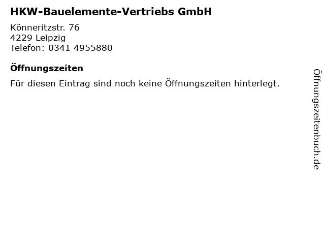 HKW-Bauelemente-Vertriebs GmbH in Leipzig: Adresse und Öffnungszeiten