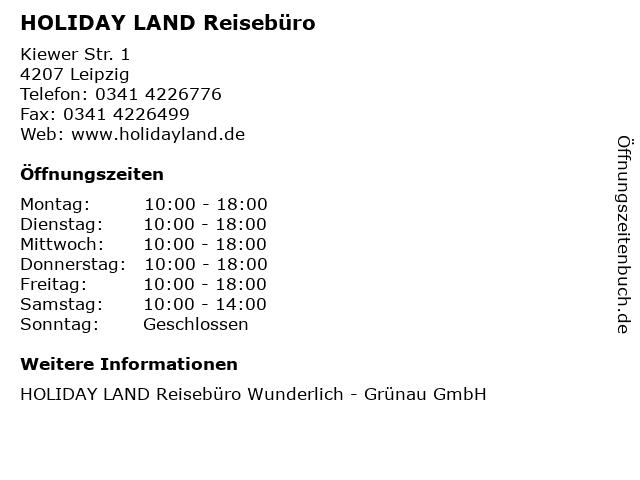 HOLIDAY LAND Reisebüro in Leipzig: Adresse und Öffnungszeiten