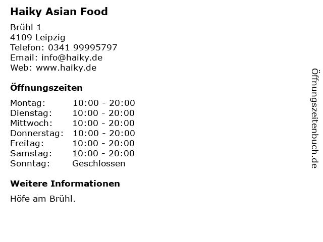 Haiky Asian Food in Leipzig: Adresse und Öffnungszeiten
