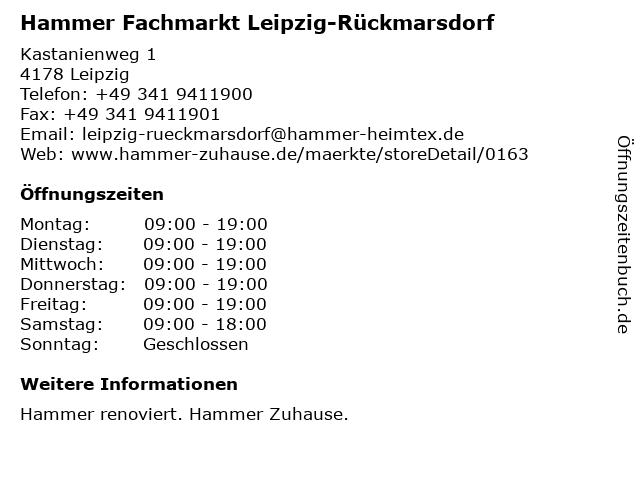 Hammer Fachmarkt Leipzig-Rückmarsdorf in Leipzig: Adresse und Öffnungszeiten