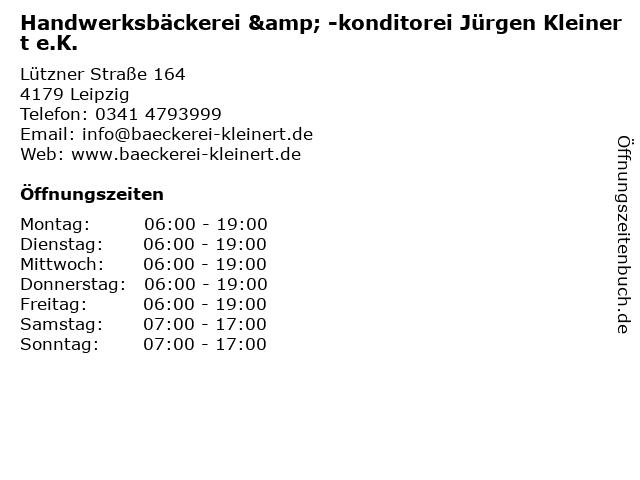 Handwerksbäckerei & -konditorei Jürgen Kleinert e.K. in Leipzig: Adresse und Öffnungszeiten