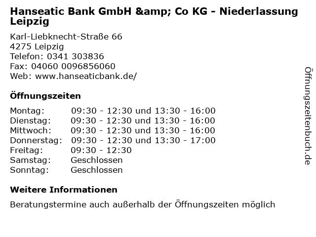 Hanseatic Bank GmbH & Co KG - Niederlassung Leipzig in Leipzig: Adresse und Öffnungszeiten