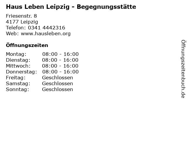 Haus Leben Leipzig - Begegnungsstätte in Leipzig: Adresse und Öffnungszeiten