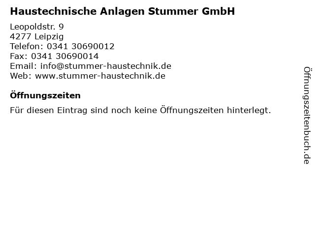 Haustechnische Anlagen Stummer GmbH in Leipzig: Adresse und Öffnungszeiten