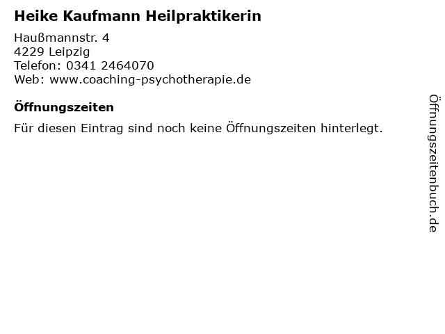 Heike Kaufmann Heilpraktikerin in Leipzig: Adresse und Öffnungszeiten