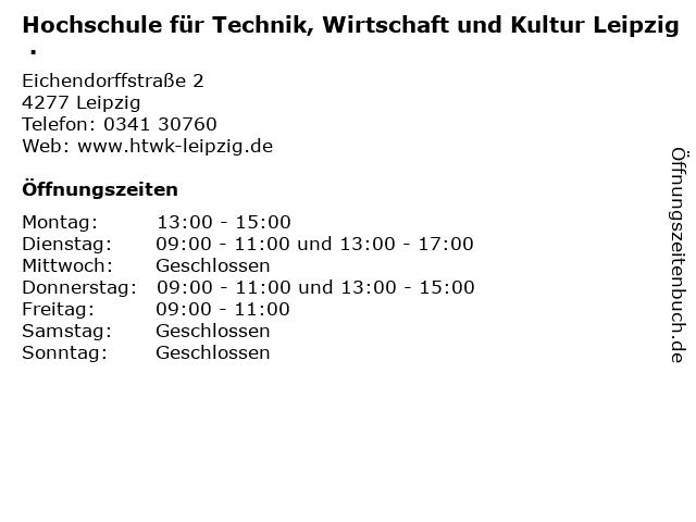 Hochschule für Technik, Wirtschaft und Kultur Leipzig . in Leipzig: Adresse und Öffnungszeiten