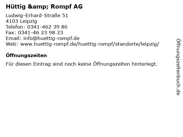 Hüttig & Rompf AG in Leipzig: Adresse und Öffnungszeiten
