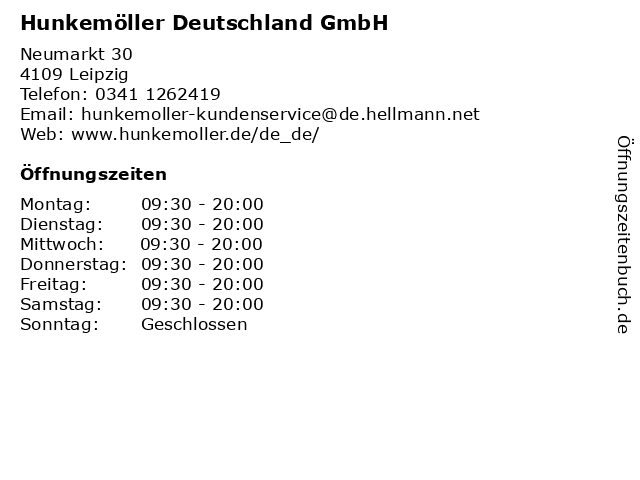 Hunkemöller Deutschland GmbH in Leipzig: Adresse und Öffnungszeiten