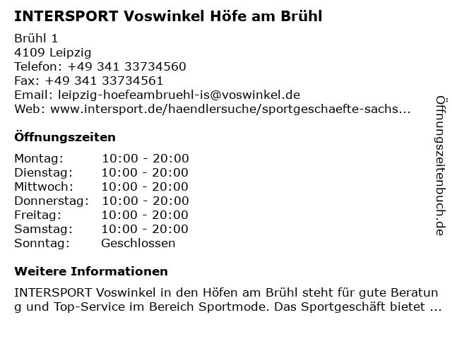 INTERSPORT Voswinkel Höfe am Brühl Leipzig in Leipzig: Adresse und Öffnungszeiten