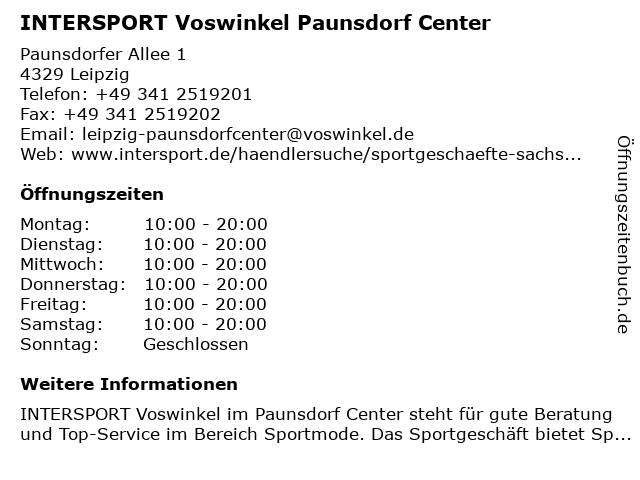 INTERSPORT Voswinkel Paunsdorf Center in Leipzig: Adresse und Öffnungszeiten
