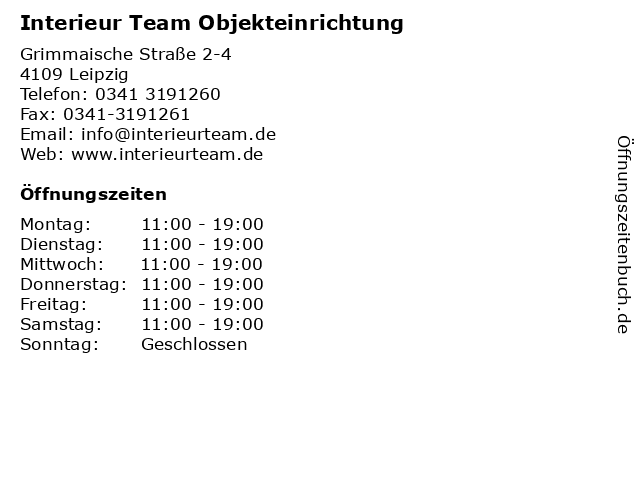 Interieur Team Objekteinrichtung in Leipzig: Adresse und Öffnungszeiten