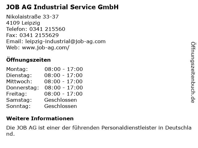 JOB AG Industrial Service GmbH in Leipzig: Adresse und Öffnungszeiten