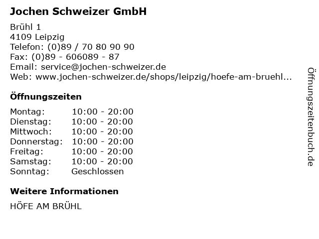 Jochen Schweizer GmbH in Leipzig: Adresse und Öffnungszeiten