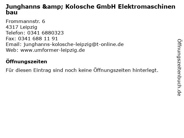 Junghanns & Kolosche GmbH Elektromaschinenbau in Leipzig: Adresse und Öffnungszeiten