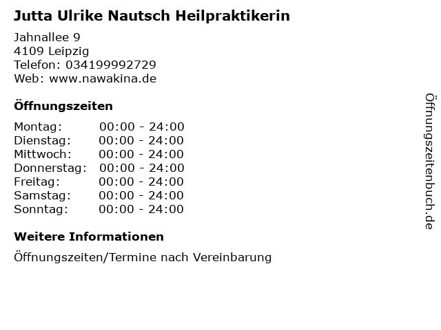 Jutta Ulrike Nautsch Heilpraktikerin in Leipzig: Adresse und Öffnungszeiten