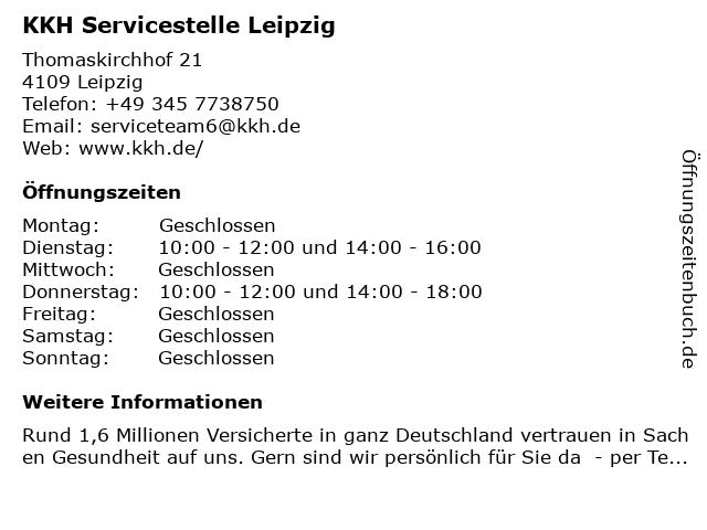 KKH Servicestelle Leipzig in Leipzig: Adresse und Öffnungszeiten