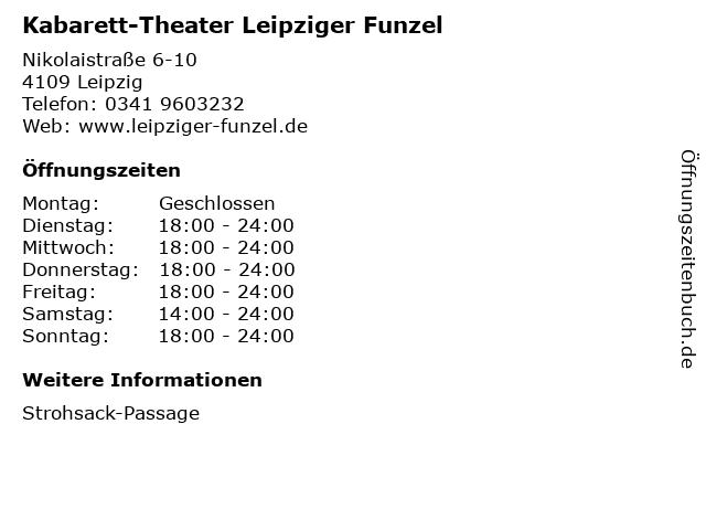 Kabarett-Theater Leipziger Funzel in Leipzig: Adresse und Öffnungszeiten