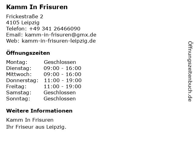 ᐅ öffnungszeiten Kamm In Frisuren Frickestr 2 In Leipzig