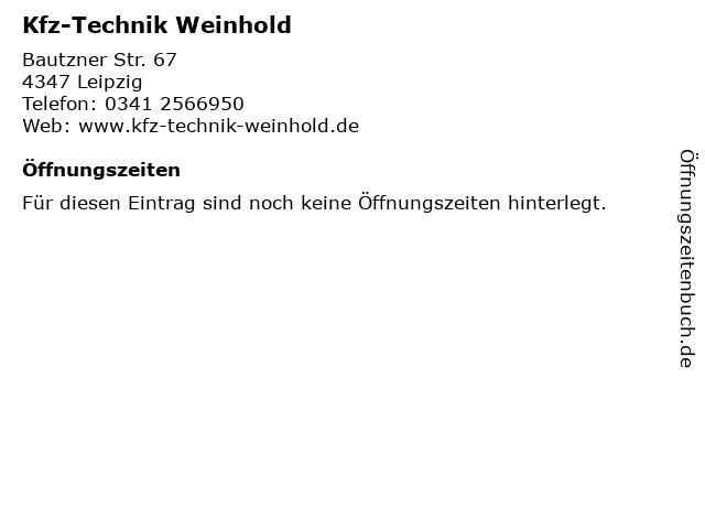 Kfz-Technik Weinhold in Leipzig: Adresse und Öffnungszeiten