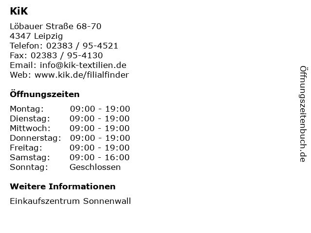 KiK Textilien und Non-Food GmbH in Leipzig: Adresse und Öffnungszeiten