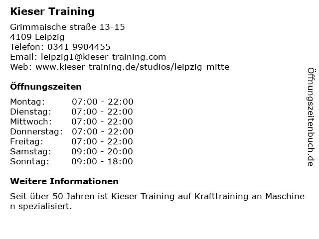 Kieser Training in Leipzig: Adresse und Öffnungszeiten