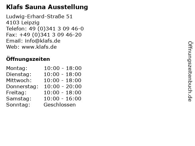 Klafs Sauna Ausstellung in Leipzig: Adresse und Öffnungszeiten