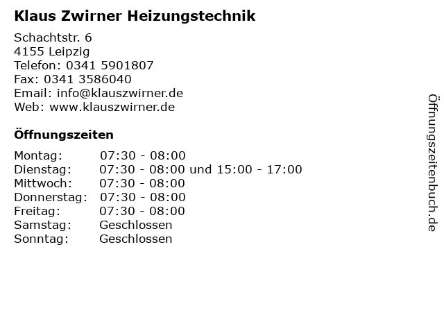 Klaus Zwirner Heizungstechnik in Leipzig: Adresse und Öffnungszeiten