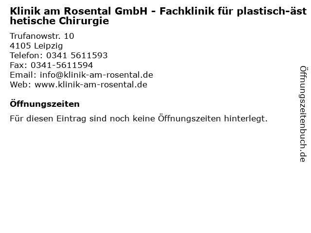 Klinik am Rosental GmbH Plast.- u. Ästhetische Chiurgie in Leipzig: Adresse und Öffnungszeiten