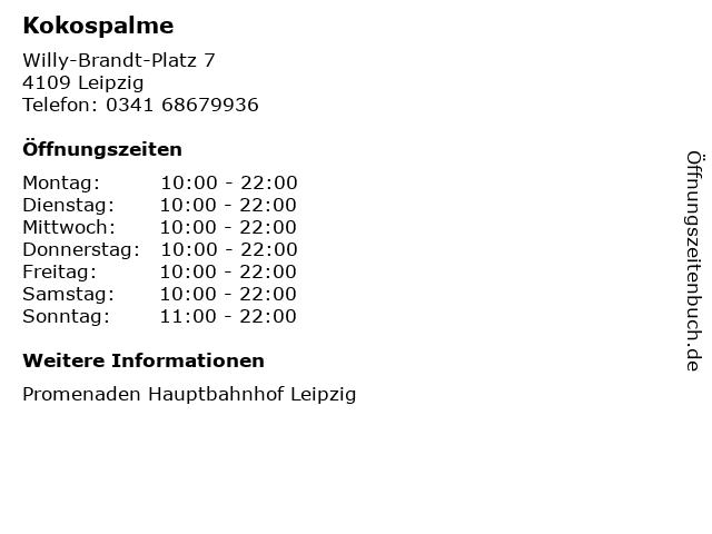 Kokospalme in Leipzig: Adresse und Öffnungszeiten